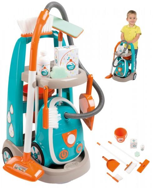 Putzwagen Reinigungstrolley mit Staubsauger (Türkis-Orange)