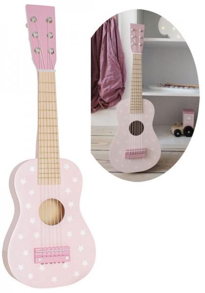 Kindergitarre aus Holz Sternchen (Pastell Rosa)