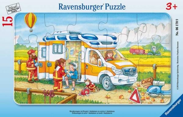 Rahmenpuzzle Krankenwagen im Einsatz mit 15 Teilen