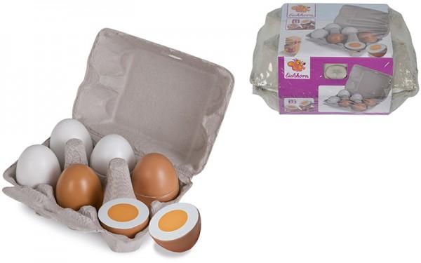 6 Eier aus Holz in Eierschachtel