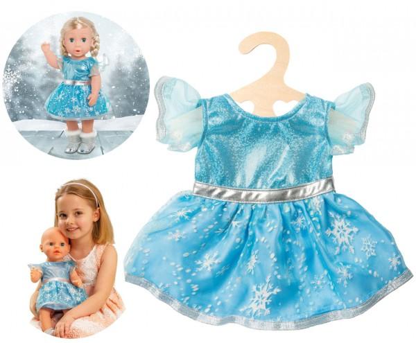 Kleidungsset Eis-Prinzessin Gr. 28 - 35 cm (Eisblau-Glitzer)
