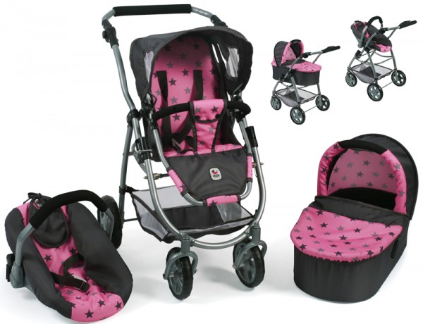 Puppenwagen Emotion All In 3in1 (Sternchen Grau-Rosa)