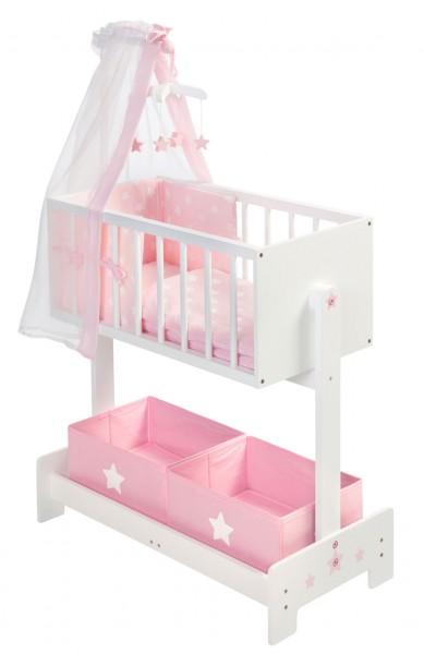 Große Puppenwiege mit Nestchen, Bettzeug, Mobile und Stoffboxen (Weiß-Rosa)