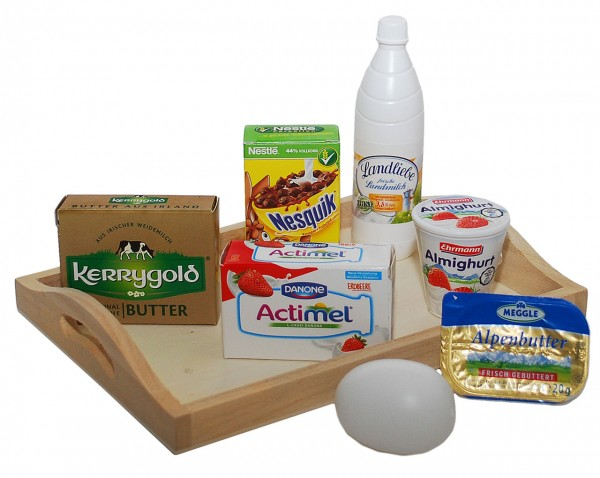 Tablett mit Spiellebensmittel für Kaufladen (Sortiert)