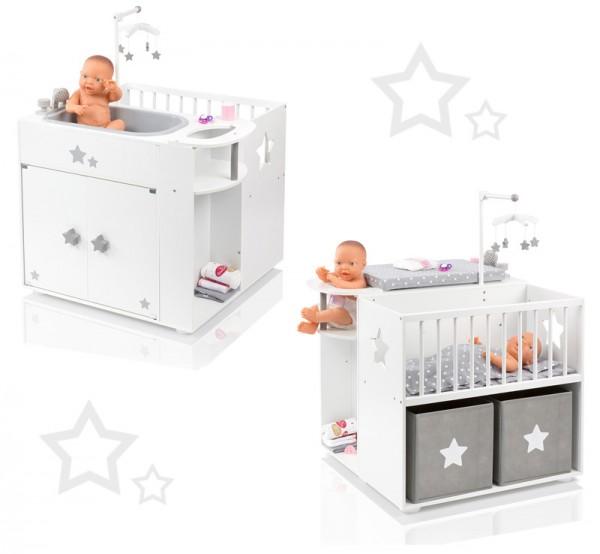 Großes Puppenpflegecenter 5in1 Sternchen aus Holz (Weiß-Grau)