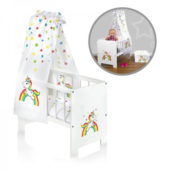 Puppenbett mit Himmel Einhorn mit Regenbogen aus Holz (Weiß-Bunt)