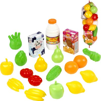 Netz mit Spiel-Obst und Zubehör