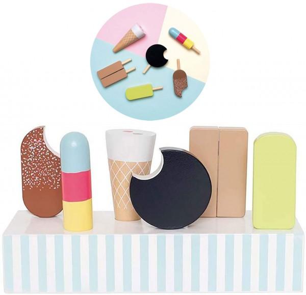 Leckere Eisvariationen aus Holz mit Ständer (Pastell)