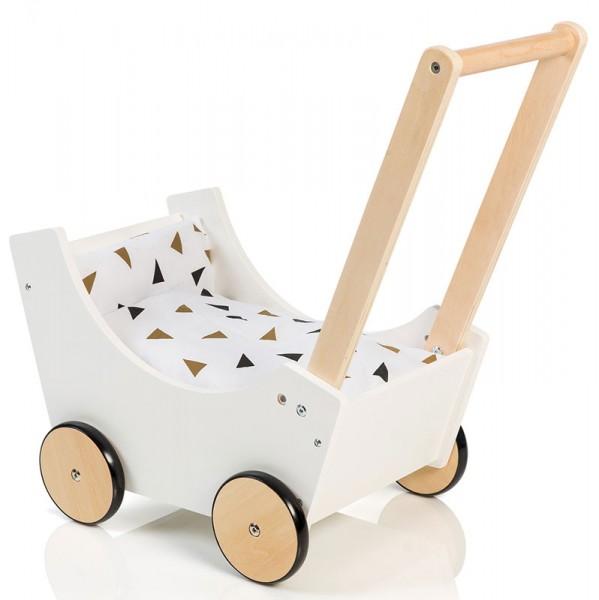 Holzpuppenwagen Speedy Dreiecke (Weiß-Schwarz-Gold)