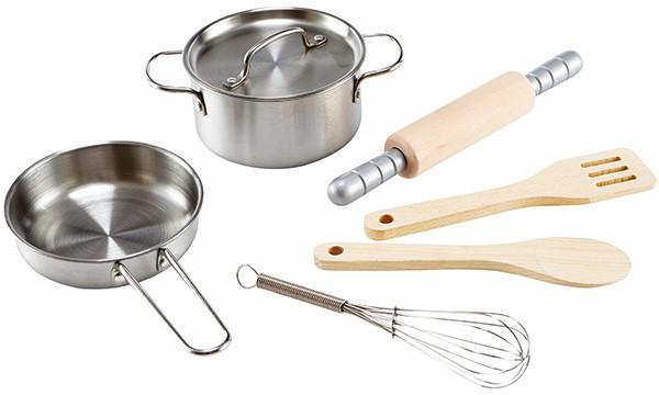 Kochset für Küchenchefs aus Holz und Edelstahl
