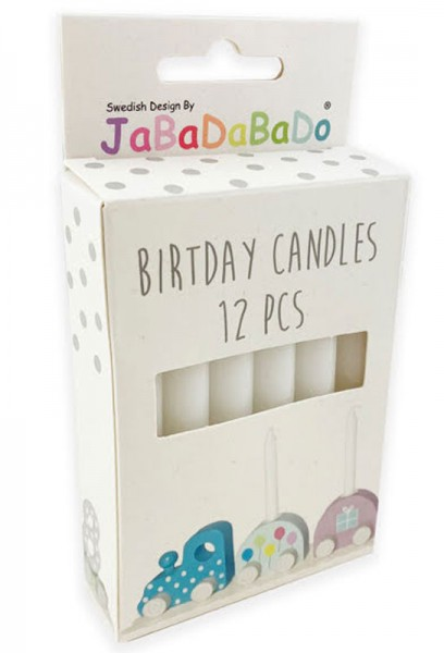 12 Kerzen für Geburtstagszug (Weiß)