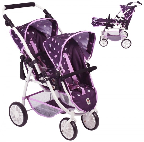 Zwillingspuppenwagen Tandem-Buggy Vario (Stars Lila)