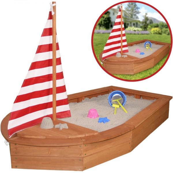 Sandkasten Boot mit Segel und Abdeckplane (Braun)