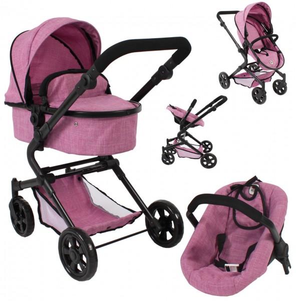Puppenwagen Lia Kombiwagen 3in1 mit Autositz (Jeans Pink)