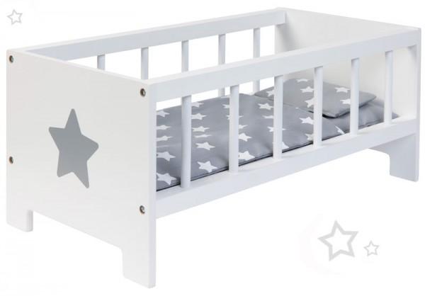 Puppenbett Sternchen aus Holz (Weiß-Grau)
