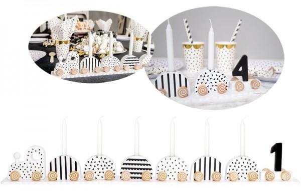 Geburtstagszug mit Zahlen (Schwarz-Weiß)