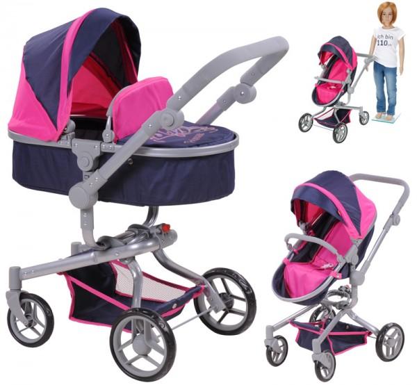 Puppenwagen Boonk 2in1 Diadem (Blau-Pink)