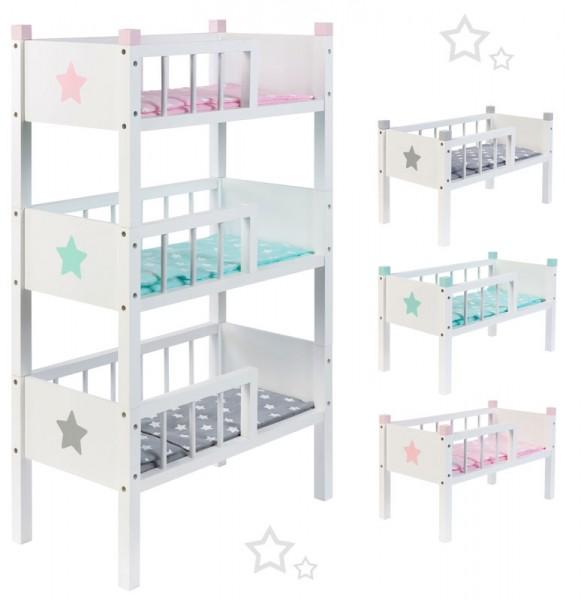 Puppenetagenbett Sternchen aus Holz mit 3 Betten Stapelbar (Grau-Mint-Rosa)