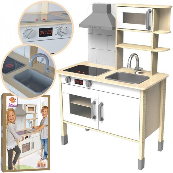 Spielküche aus Holz (Natur-Weiß)