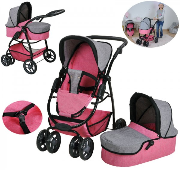 Puppenwagen Coco 2in1 Jeans (Grau-Rosa)