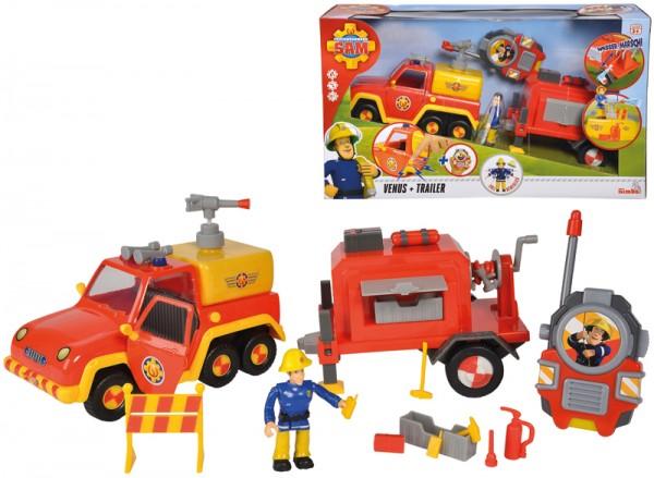 Feuerwehrmann Sam Venus mit Anhänger und Funkgerät Special Set